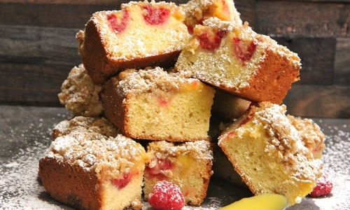 Citrus Raspberry Blondie Bars