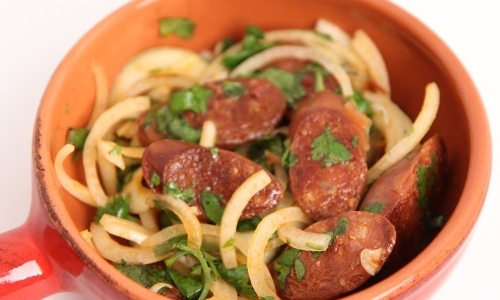 Grilled Chorizo with Onions and Lime