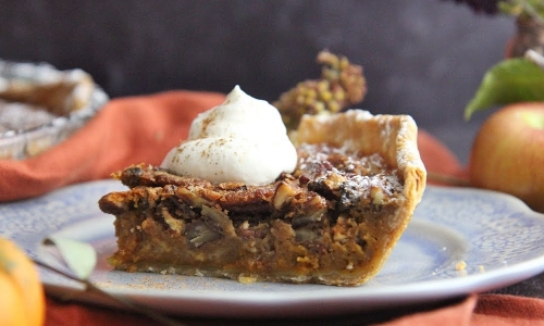 Pumpkin Bourbon Pecan Pie