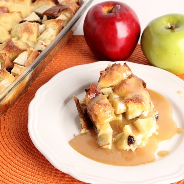 Apple Bread Pudding with Warm Vanilla Butter Sauce