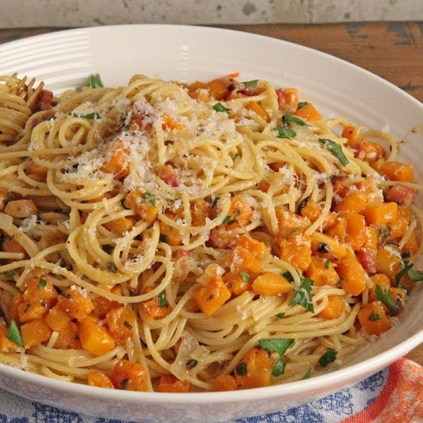 Carbonara with Squash and Pancetta