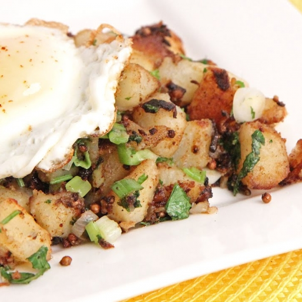 Indian Spiced Potato Hash with Fried Egg