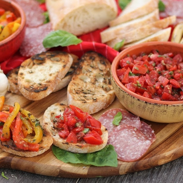 Italian Antipasti: Bruschetta and Roasted Peppers