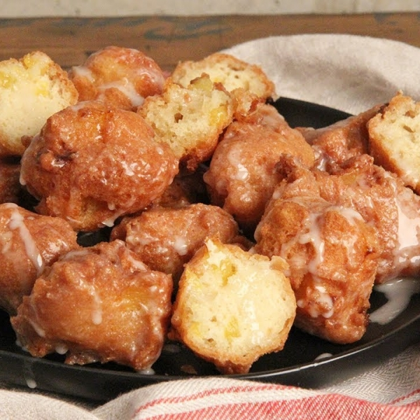 Peach Fritters with Whisky Glaze