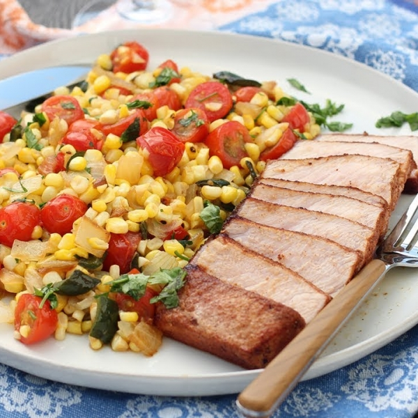 Smokey Seared Pork Chops with Summer Corn Succotash